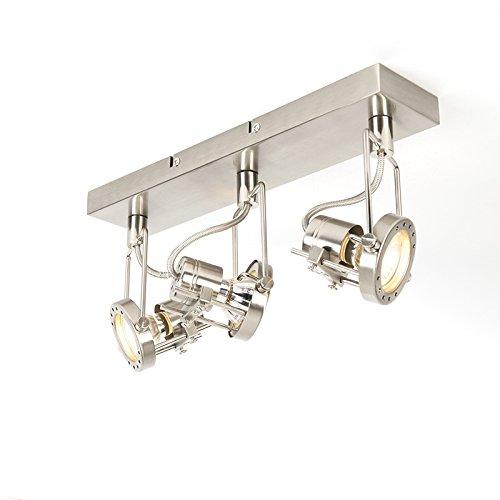 QAZQA Industrie//Industrial//Modern Spot//Spotlight//Deckenspot//Deckenstrahler//Strahler//Lampe//Leuchte Suplux 3-flammig Spotbalken Stahl//Silber//nickel matt//Innenbeleuchtung//Wohnzimme
