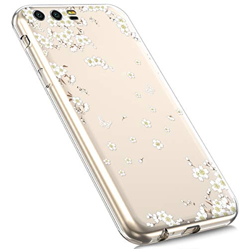 Price comparison product image Huawei Mate 20 Pro Case, MoreChioce Fashion Creative Painted Pattern Design Slim Transparent Silicon Protective Cover Compatible with Huawei Mate 20 Pro + 1x Blue Stylus Pen - White Cherry Blossom