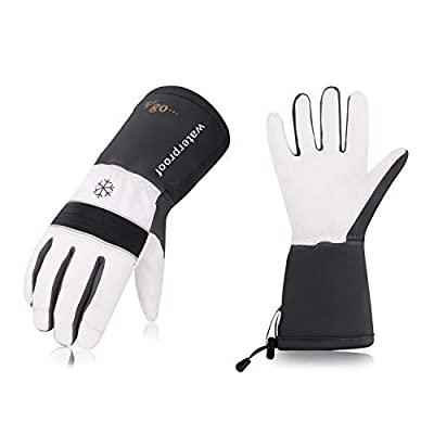 Vgo 2Pairs -23 ? or above 3M Thinsulate G200 Lined Goatskin Leather Winter Warm Ski Gloves, Cold Storage Work Gloves, Waterproof Insert (Size M,Grey,GA8435FW)