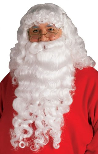 [Rubie's Santa Beard and Wig Set, White, One Size] (Synthetic Santa Costumes Beard And Wig Set)