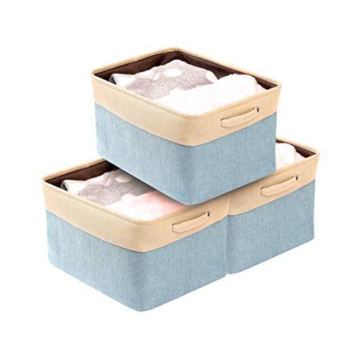 DECOMOMO Extra Large Foldable Storage Bin [3-Pack] Collapsible Sturdy Cationic Fabric Storage Basket Cube W/Handles for Organizing Shelf Nursery Home Closet & Office - Blue & Beige 15.8 x 12.5 x 10
