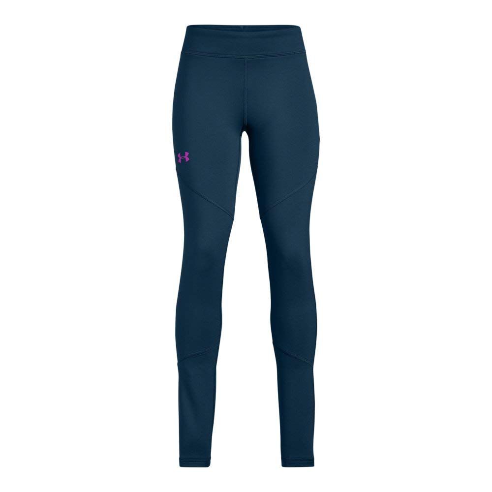 Under Armour Girls' Coldgear Leggings, Techno Teal (489)/Fluo Fuchsia, Youth Small