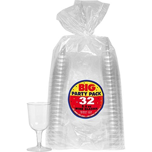 Amscan 350369.86 Big Party Pack Clear Plastic Wine Glasses, 5.5 oz (32]()