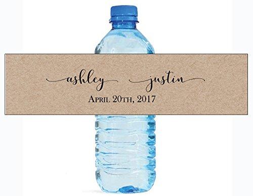 100 Kraft Elegance Wedding Anniversary Engagement Party Water Bottle labels Bridal Shower]()