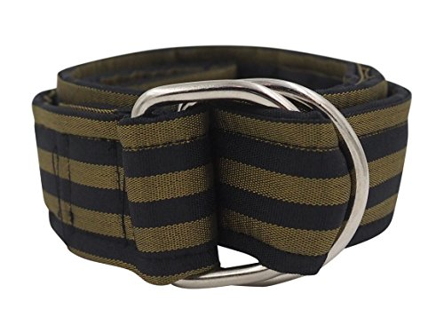 Nantucket Brand Clothing Men's Stripe D-Ring Ribbon Belt,  Black-Green