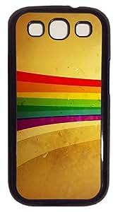 Grunge Rainbow strip Custom Samsung Galaxy S3 I9300 Case Cover Polycarbonate Black