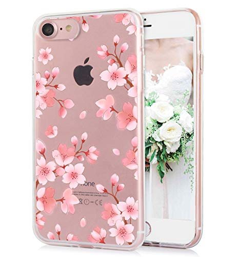 iPhone 8 iPhone 7 Case Cute Watercolor Floral Pink White Flowers Pattern Clear IMD Hybrid Hard TPU Back Cover Shockproof Protective Fun Phone Cases for Women Girls-[4.7