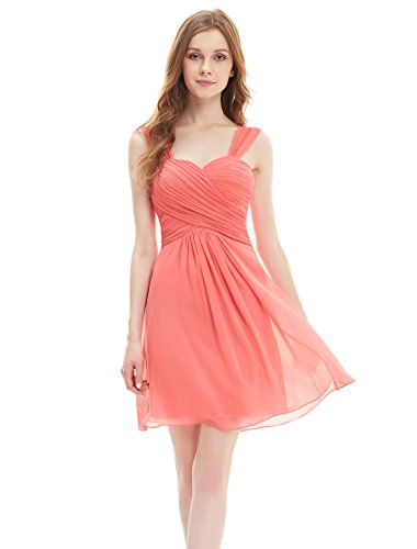 Ever Pretty Juniors Padded Knee Length Short Simple Homecoming Dress 8 US Coral
