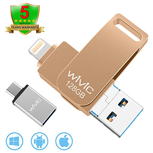 USB Flash Drive Photo Stick for iPhone Flash Drive for iPhone PhotoStick Mobile for iPhone USB Flash Drive Android Backup Drive OTG Smart Phone Memory Stick Storage iPAD USB 3.0 WIVIC 128GB Gold