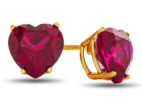 (Finejewelers 7x7mm Heart Shaped Created Ruby Post-With-Friction-Back Stud Earrings 10 kt Yellow Gold )