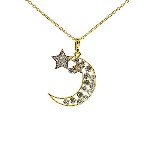 GTNINE Crystal Rhinestone Star Moon Pendant Necklace Chain for Women Dainty Minimalist Fashion Jewelry Mothers Day Birthday Gift