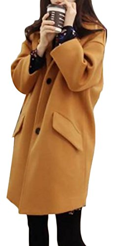 Papijam Women's Stylish Winter Warm 3 Button Wool Outwear Pea Coat Yellow XXL