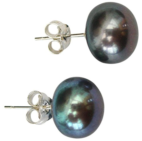 10mm Peacock (Black) Cultured Pearl Silver 925 Stud