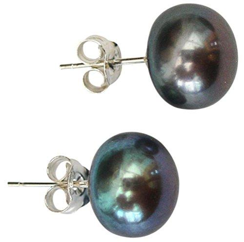 10mm Peacock (Black) Cultured Pearl Silver 925 Stud