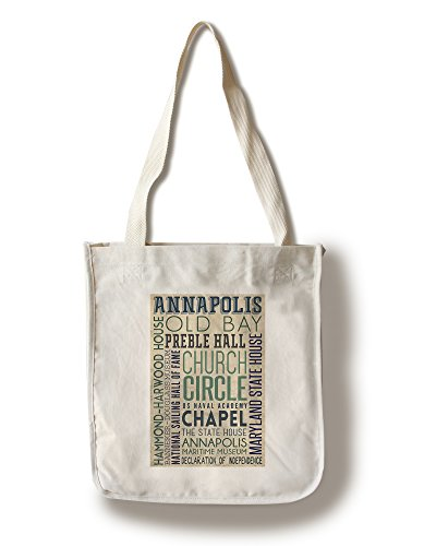 Lantern Press Annapolis, Maryland - Typography (100% Cotton Tote Bag - Reusable)