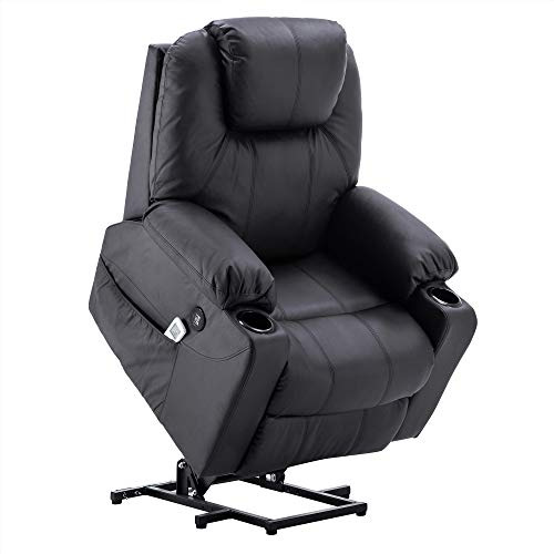 Electric Power Lift Chair Massage Sofa Recliner Heated Chair Lounge w/Remote Control Dual USB Charging Ports 7045 (Black)