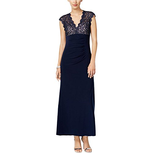 Xscape Womens Petites Glitter Gathered Formal Dress Navy 10P by Xscape