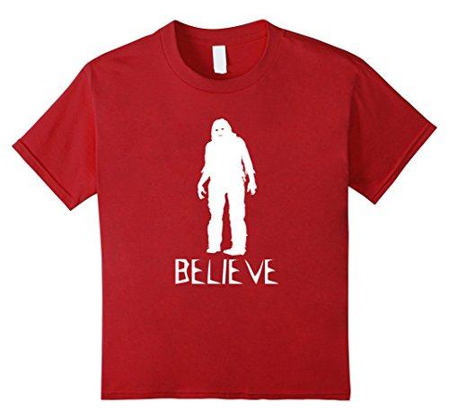 unisex-child Believe Bigfoot Sasquatch - Scary Costume T Shirt 12 Cranberry (Bigfoot Costumes For Kids)