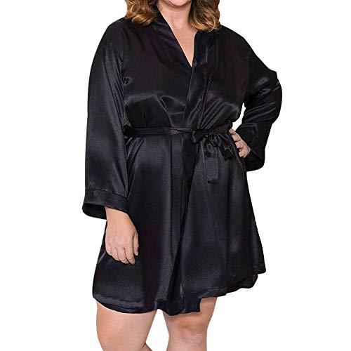 Clearance!Connia Women Plus Size Silk Bathrobe&Briefs&Belt Sets Fashion Nightdress Babydoll Nightgown Sleepwear (XXXXXL, Black) from Conina