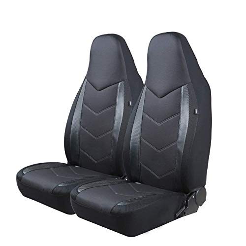 PIC AUTO High Back Car Seat Covers - Sports Carbon Fibre Mesh Design, Universal Fit, Airbag Compatible (Black) -