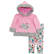 Duck Goose Baby Girl Foxy Lady Hooded Microfleece Jacket Floral Legging Pant Set, Pink, 3-6 Months