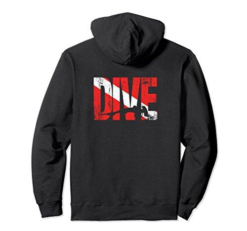 Unisex DIVE Diver Down Flag Hammerhead Shark Vintage Look Hoodie Large Black