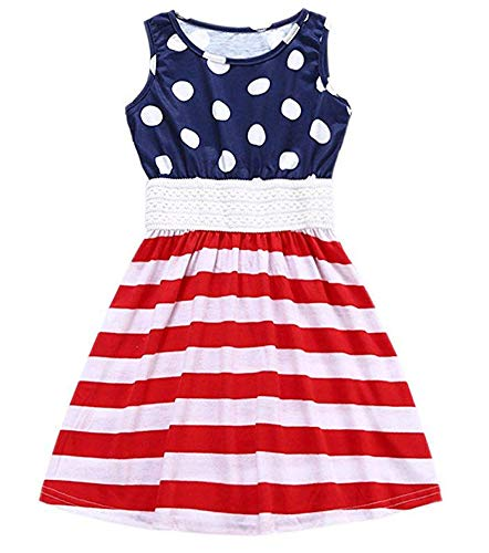DHASIUE Girls 4th of July American Flag Style Dot Print Stripe Stitching Dress