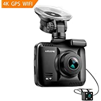 4K Ultra HD Car Dash Cam,Azdome Dual Lens Built in GPS WiFi FHD 1080P Front + VGA Rear Camera Car DVR Recorder 2160P Dash Cam Novatek 96660 Dashcam,incl.2 port car charger