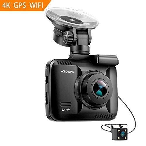 Video Cam Hot (4K Ultra HD Car Dash Cam,Azdome Dual Lens Built in GPS WiFi FHD 1080P Front + VGA Rear Camera Car DVR Recorder 2160P Dash Cam Novatek 96660 Dashcam,incl.2 port car charger)