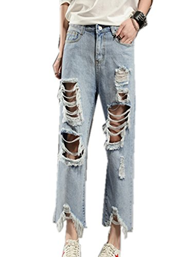 Women's Light Washed Harem Loose Ripped Jeans (Blue) - 4