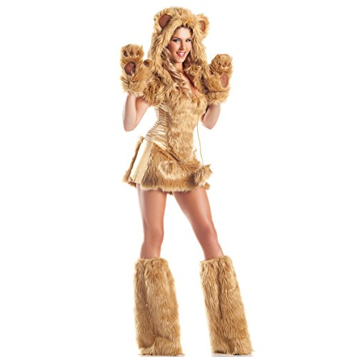 Lion Halloween Costume For Women (Women's Halloween Cosplay Lion Costume Masquerade Sexy Jumpsuit Hooded with Tail)