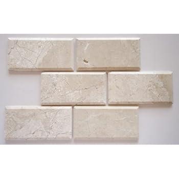 quality beveled subway tile   Light Walnut Travertine 3 X 6 Deep-Beveled & Honed Subway ...