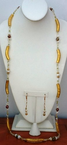 "41"" Long Necklace and Earring Set with Venetian Yellow Glass Tube, MOP shell nuggets and Cloisonne Beads"