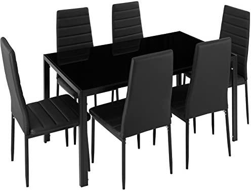 TecTake Conjunto de Mesa y 6 sillas de Comedor (Negro | No. 402839)