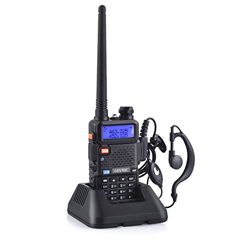 eSynic Rechargeable Walkie Talkie UV-5R Dual Brand Two Way Radio 136-174MHz VHF 400-520MHz UHF with Full Kits Battery Earpiece USB Charging Base Antenna Belt Clip for Hotel Airport Construction ()