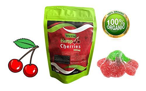 Hemp Cherries Gummies 300mg- 20mg per Serving- 30 ct- Full Spectrum Organic Hemp Extract - Relaxing, Pain Relief, Stress & Anxiety Relief - Sleep Better by Living Green (Cherries)