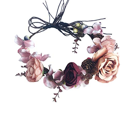 (Vivivalue Adjustable Flower Headband Bridal Flower Crown Hair Wreath Floral Headpiece Halo Boho with Ribbon Wedding Party Festival Photos Brown)