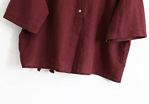 Solide Femme Courtes Cou en Vin Lin MatchLife Coton Shirt Du Manches T O a8CdBwqB