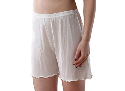 Pure Silk Thin Pants Safety Leggings Boy Shorts White (Silk Bloomers)