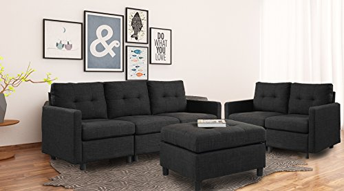 DAZONE Modular Sectional Sofa Assemble 6-Piece Modular Sectional Sofas Bundle Set Cushions, Easy to Assemble Left & Right Arm Chair,Armless Chair,Ottomans Table ()