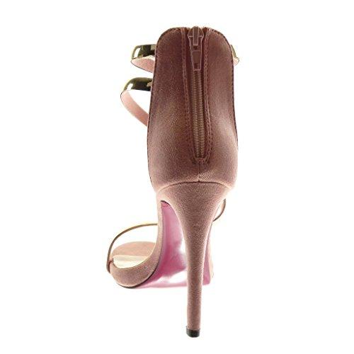 Sandalias Stiletto de Mujer de Tanga Escarpín 11 Correa Aguja Tacón Angkorly cm Alto Dorado Tobillo Rosa Pálido Moda Zapatillas Tacón XxFn1f