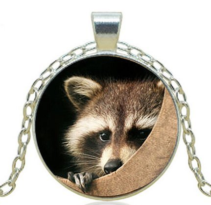 Round Cabochon Cream - RACCOON PENDANT Wildlife Necklace Animal Lover Jewelry Charm Gift Raccoon Necklace Brown Cream Tan Black Gift for Animal Lover