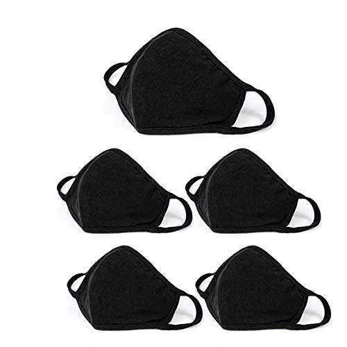 5 Pack Fashion Protective, Unisex Black Dust Cotton, Washable, Reusable Cotton Fabric Face Covering