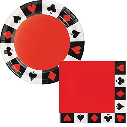 Casino Night Party Happy Birthday Lunch Plates & Napkins Party Kit for 8 -