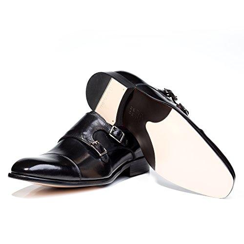 Wildleder Herrschuh - Modell Monkstrap - Business-Schuhe mit Blockabsatz - Rindsleder by VON FLOERKE Schwarz