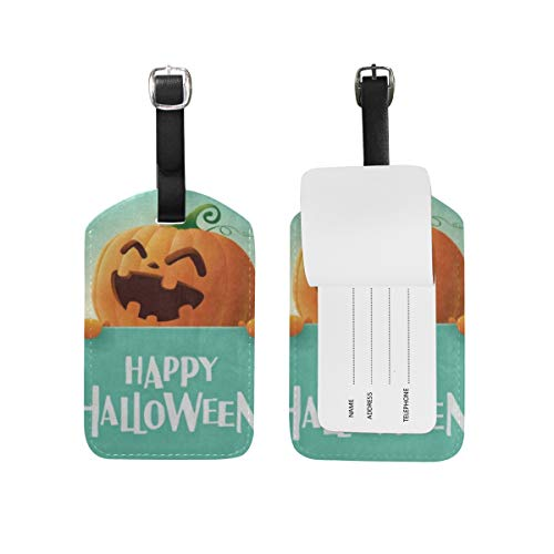 Luggage Tags Happy Halloween Pumpkin Face Emoji Travel ID Identifier 1 Pack -
