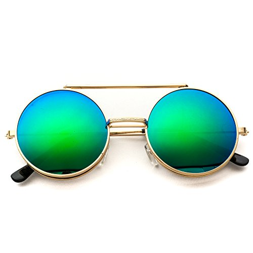 WearMe Pro - Retro Mirrored Metal Flip Up Round Circle Frame - Circle Up Glasses Flip