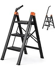 Aluminum Ladder ALPURLAD 3 Step Portable Folding Ladders with Wide Anti-Slip Pedal,Telescopic Armrest/Handgrip Multi-Use Stepladders for Household & Office (3 Step)