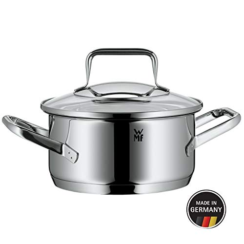 WMF cookware Ø 16 cm Approx. 1,4l Trend Made in Germany Hollow Side Handles Glass lid Cromargan Stainless Steel Brushed Suitable for All Stove Tops Including Induction Dishwasher-Safe