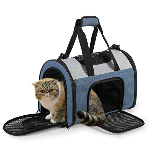 Jespet Soft Pet Carrier for Small Dogs, Cats, Puppies, Kittens Up to 8 Pound, Airline Approved Pet Carrier for Travel with Family (Blue Gray - 16